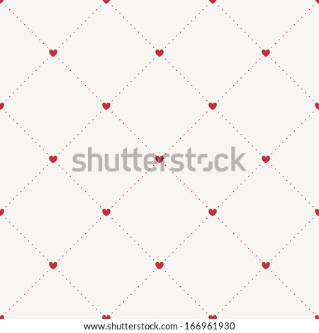 Seamless geometric pattern with hearts. Vector repeating texture - stock vector