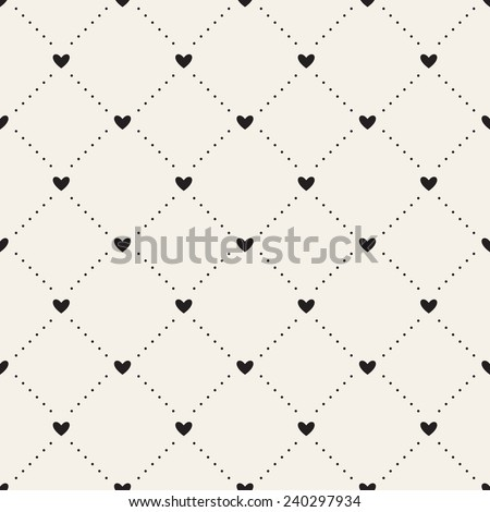 Seamless geometric pattern with hearts. Vector repeating texture. Dotted rhombuses from small circles and hearts in nodes - stock vector