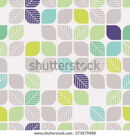 seamless geometric pattern with leaves - stock vector