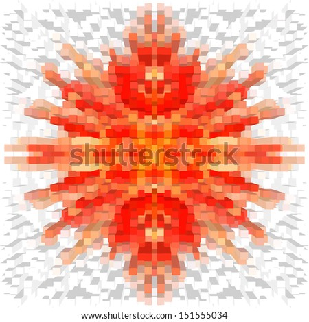 Seamless geometric pattern with many square blocks in orange, yellow,white colors - stock vector