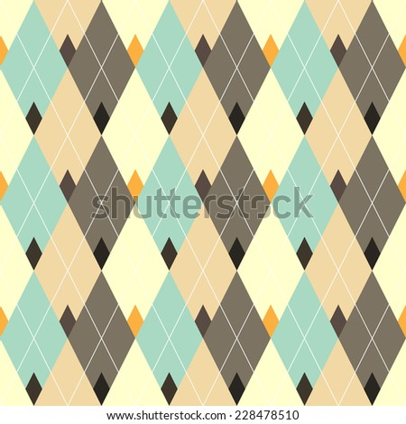 Seamless geometric pattern with multicolored diamond. - stock vector
