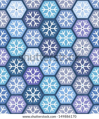 Seamless geometric pattern with snowflakes for Christmas design. EPS 10 vector illustration. - stock vector