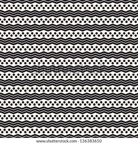 Seamless geometric pattern. Zig zag stripes and dots. Vector graphic texture - stock vector