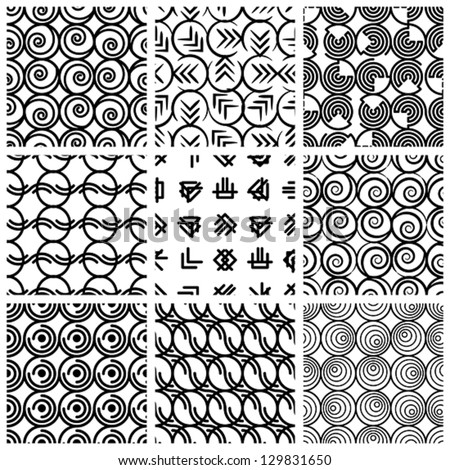 Seamless geometric patterns set, black and white vector backgrounds collection.