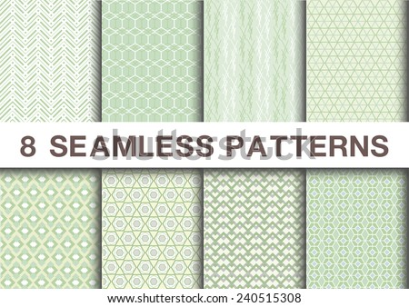 Seamless geometric patterns set collections of 8 green tones  ,vector illustration  - stock vector