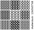 Seamless geometric patterns set, retro style black and white vector backgrounds collection. - stock vector