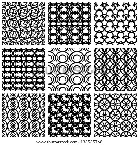 Seamless geometric patterns set, retro style black and white vector backgrounds collection.