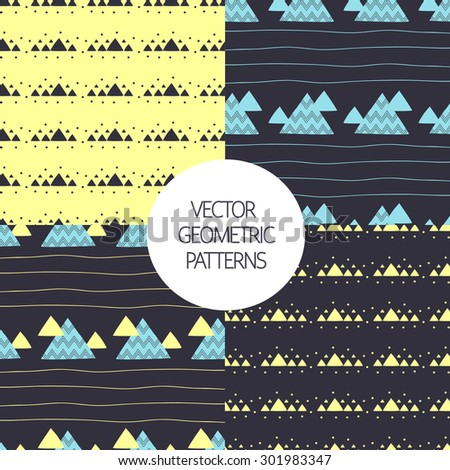 Seamless geometric  patterns set with decorative hand drawn triangles. Vector Illustration.