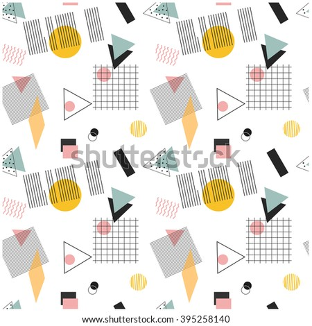 Seamless geometric retro pattern. Pattern with  triangles, circles, squares, bars, cell, lattice. Seamless patern 80s and 90s. Retro pattern. Vintage pattern for fabric. Pattern for textile.Pattern. - stock vector