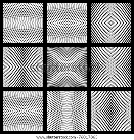 Seamless geometric symmetric designs set. Vector art. No gradient. - stock vector