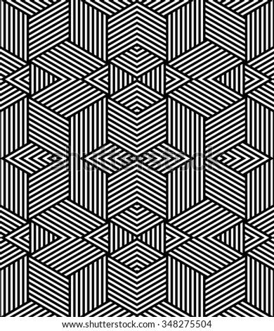 Seamless geometric texture. Striped diamonds  pattern. Vector art. - stock vector
