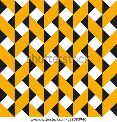 Seamless geometric vector pattern in yellow, black and white