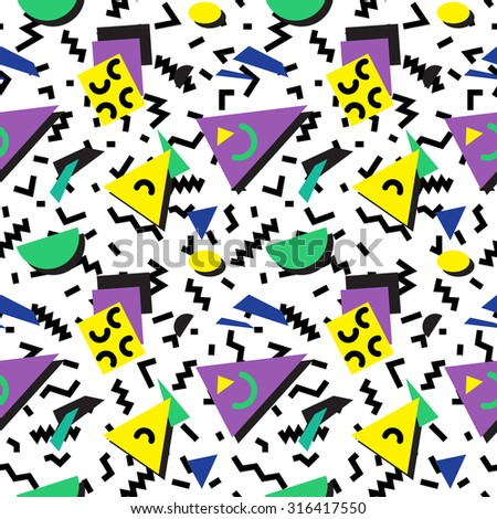 Seamless geometric vintage pattern in retro 80s style, memphis. Ideal for fabric design, paper print and website backdrop. EPS10 vector file. - stock vector