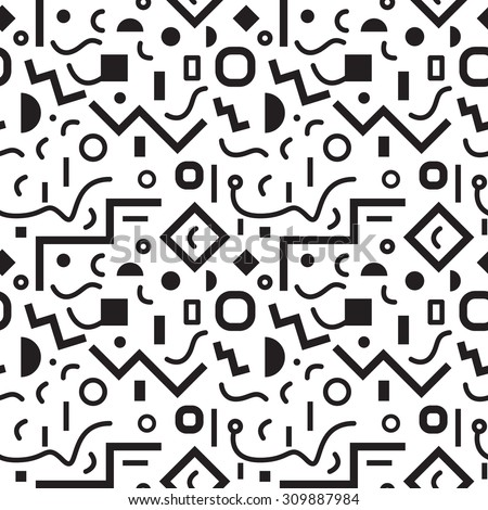 Seamless geometric vintage pattern in retro 80s style, memphis, in black and white. Ideal for fabric design, paper print and website backdrop. EPS10 vector file. - stock vector