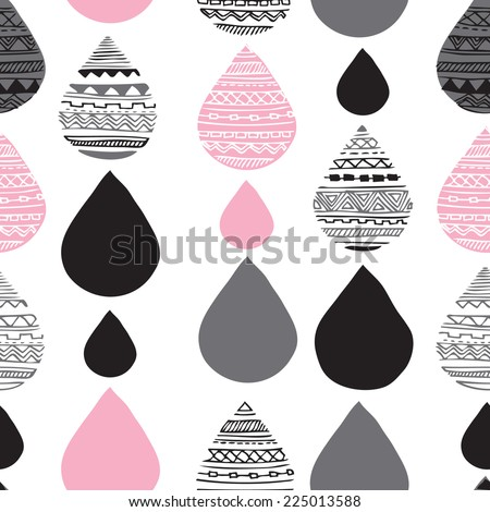 Seamless geometric water drop tribal hand drawn background pattern in vector - stock vector