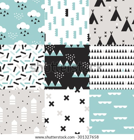 Seamless geometric woodland scandinavian abstract teepee tent plus sign cross confetti arrows and mountains illustration background set pattern in vector - stock vector