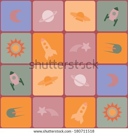 seamless geometrical background with rockets, satellites and celestial bodies - stock vector