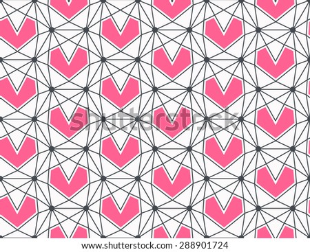 Seamless geometrical heart pattern, hipster love polygonal background, romantical wallpaper - stock vector