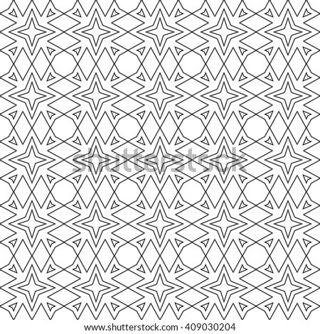 Seamless geometrical linear pattern with stars, black and white vector illustration