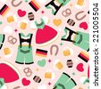 Seamless German traditional clothes and Oktoberfest icons illustration background pattern in vector - stock vector