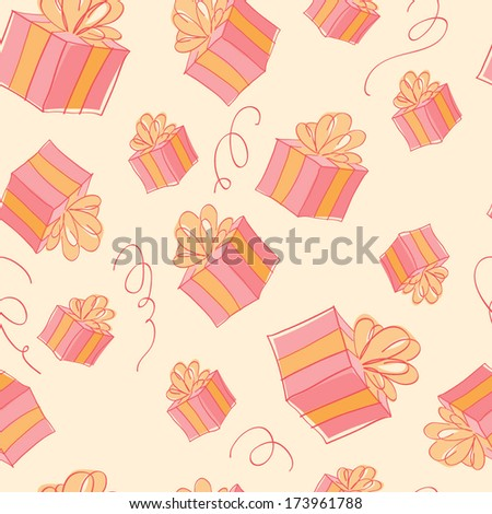 Seamless gift boxes pattern in light red color. Cheerful texture, good for greeting card design.