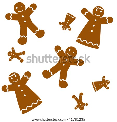 Seamless Gingerbread Background - stock vector