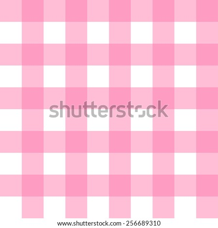 Seamless Gingham, pastel pink and white check pattern background vector. - stock vector