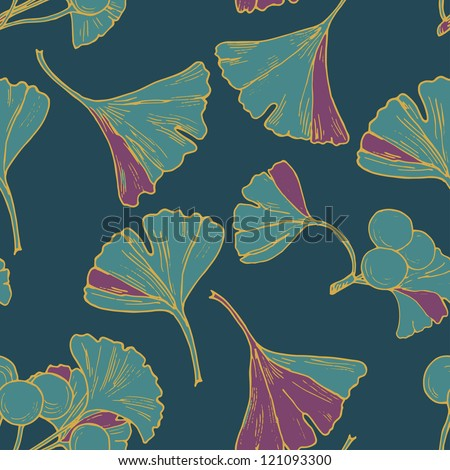 Seamless Ginkgo leaf floral pattern in vector - stock vector