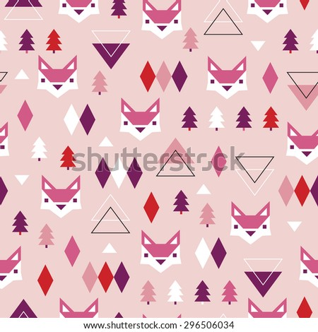 Seamless girls pink geometric pastel holidays theme fox forest and triangle christmas tree woodland background pattern in vector - stock vector