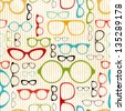 seamless glasses pattern in vintage style - stock vector