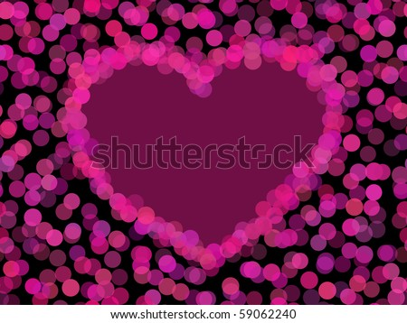 seamless glowing light and heart contour - stock vector