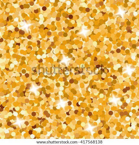 Seamless Gold Glitter Pattern. Decorative seamless background. - stock vector