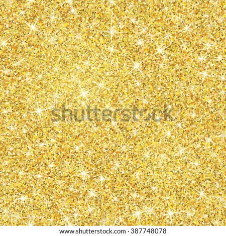 Seamless gold glitter texture isolated on golden background. Vector illustration for shimmer background. Sparkle sequin tinsel yellow bling. For sale gift card, brightly vibrant certificate, voucher