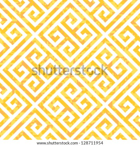 Seamless Gold Greek Key Background Pattern - stock vector