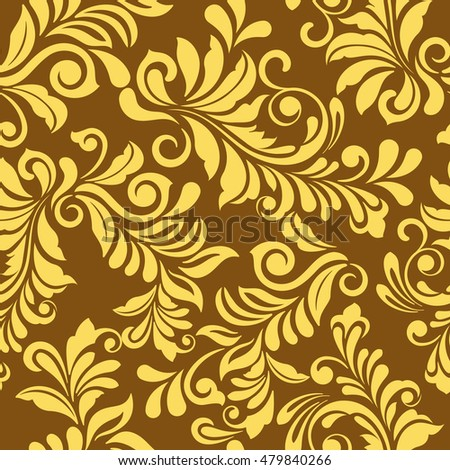 Seamless Golden Floral Vector Wallpaper Pattern Wrapping Paper Textile Or Upholstery Flower Print