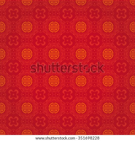 "Seamless Golden Pattern of The Vintage Chinese Symbol ""Shou"", Meaning Good Luck, Blessed And Long Life, on Red Background."