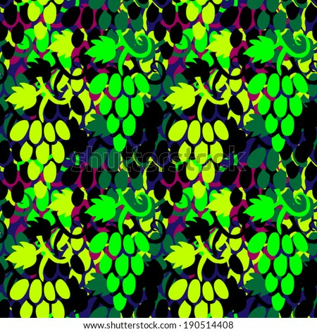 seamless Grape Pattern (vector) - stock vector
