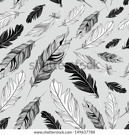 Seamless graphic pattern of feathers on a gray background  - stock vector