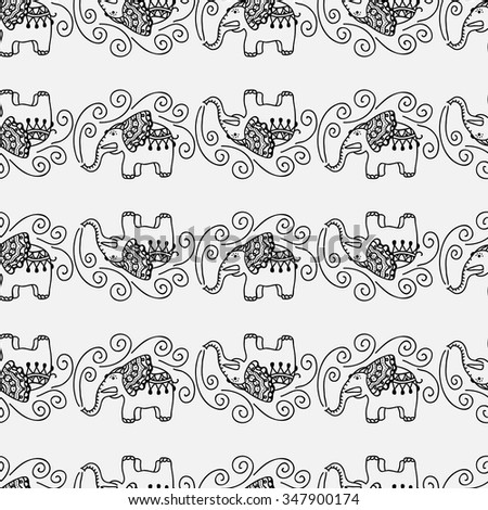 Seamless graphic pattern with cartoon doodle elephants. Childish sketch background, black and white vector illustration. - stock vector
