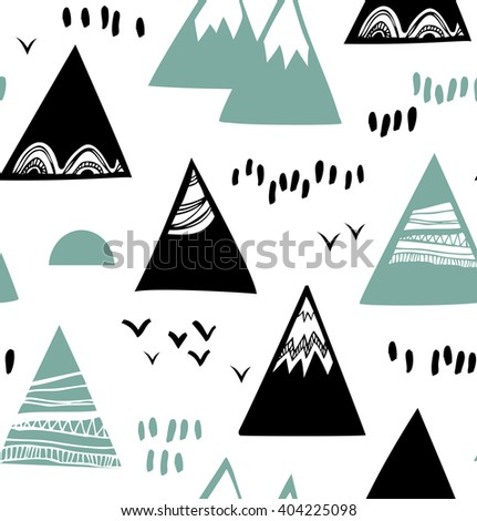 Seamless graphic pattern with mountains, rocks in scandinavian style. Decorative background with landscape.  - stock vector