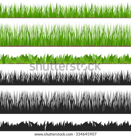Seamless grass and its silhouette, vector eps10 illustration
