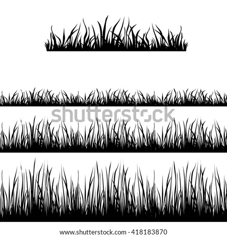 Seamless Grass Black Silhouette. Vector brushes for monochrome illustrations of landscape.