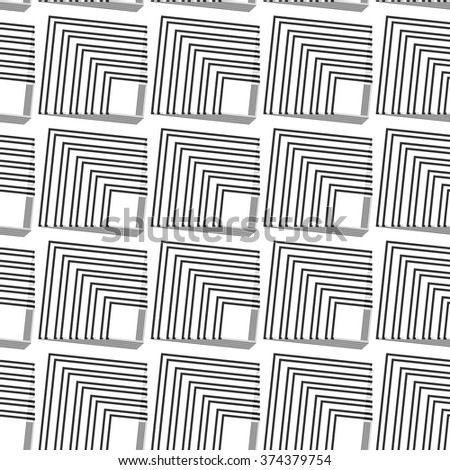 Seamless gray scale abstract modern pattern created from square intersections