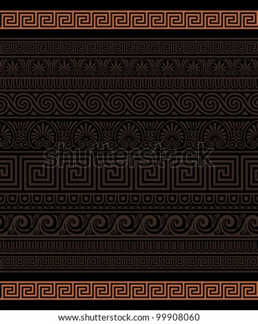 Seamless Greek Ornamental borders - stock vector