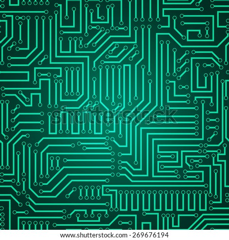 Seamless green and dark green electronic plate pattern vector. Circuit board vector illustration. Futuristic background. Electrical scheme. Technology seamless background with pattern in swatches - stock vector