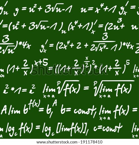 Seamless green and white background pattern of mathematical equations handwritten in chalk on a board - stock vector