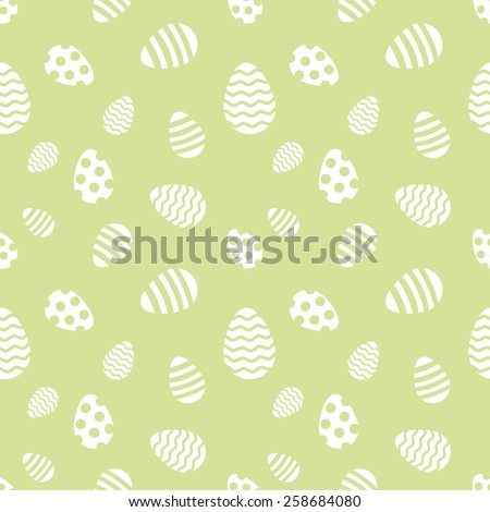 Seamless green and white Easter eggs vector pattern. - stock vector