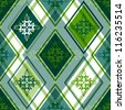 Seamless green and white rhombus pattern with floral ornament (vector EPS 10) - stock photo