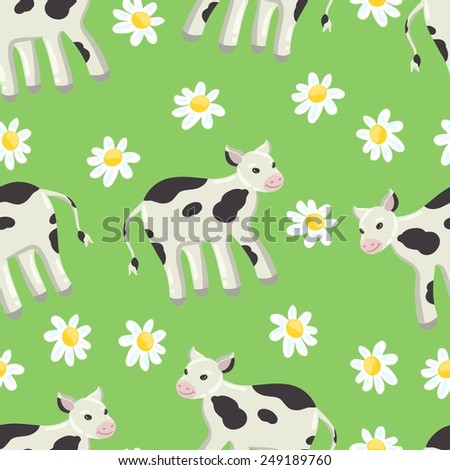 Seamless green background with a pattern of drawn cheerful white-black spotted calf. Field of daisies - stock vector