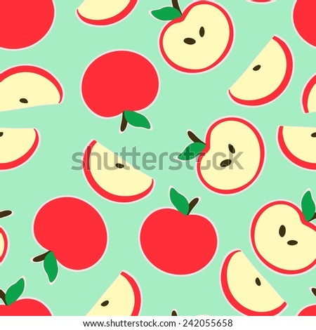 Seamless green background with a pattern of funny cartoon red apple - stock vector